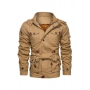 Mens Hot Trendy Plain Khaki Two-Way Collar Hidden Zip at Front Multiple Pocket Military Jacket
