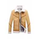 Mens Fashionable Color Block Stripes Panel Two-Way Collar Long Sleeve Zip Up Lambswool Military Jacket Coat with Pocket