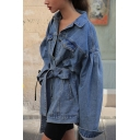 Womens Stylish Plain Tied Waist Single Breasted Drop Shoulder Long Sleeve Oversized Longline Denim Coat