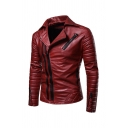 Mens Fashionable Plain Studded Notch Lapel Long Sleeve Oblique Zip Slim Fit Quilted PU Moto Jacket
