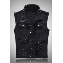 Mens Cool Rivet Decoration Lapel Collar Sleeveless Flap Pocket Black Thin Denim Vest