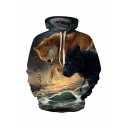 Cool Wolf Digital Printed Long Sleeve Casual Loose Pullover Hoodie