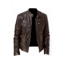 Mens Stylish Snap Collar Long Sleeve Zip Up Slim Fit Plain PU Leather Casual Jacket