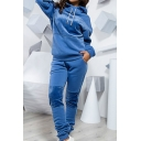 Womens Plain Patchwork Long Sleeve Drawstring Hoodie & Casual Pants Two Piece Sports Set