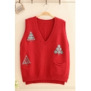 Girls Lovely Cartoon Tree Embroidery Printed Sleeveless V-Neck High Low Knitted Pullover Vest with Pocket