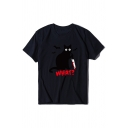 Halloween Cat Knife Letter WHAT Printed Short Sleeve Oversized Casual Tee Top