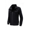 Mens Stylish Plain Stand Collar Long Sleeve Epaulets Decoration Zipper Casual Utility Jacket Coat