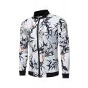 Mens Simple Chic Floral Bamboo Printed Long Sleeve Casual Slim Fit Zip Closure Baseball Jacket