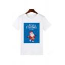 Womens Cute Santa Claus Printed Short Sleeve White Graphic Christmas T-Shirt