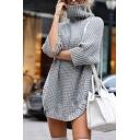 Womens Casual Fashion 3/4 Sleeve Turtle Neck Arc Hem Waffle Knit Longline Pullover Sweater