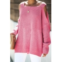 Hot Pink Square Neck Long Sleeve Side Split Oversized Casual Pullover Sweater with Cold Shoulders