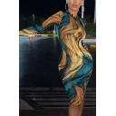 Womens Vintage Abstract Printed Long Sleeve Mock Neck Blue and Khaki Midi Bodycon Dress