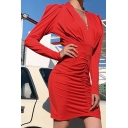 Womens Retro V-Neck Long Sleeve Ruched Mini Party Dress