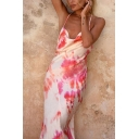 Womens Sexy Fashion Tie Dye Printed Cowl Neck Open Back Crisscross Sleeveless Maxi Strap Dress