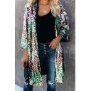 Womens Stylish Color Block Sequin Bell Long Sleeve Tunic Designer Cardigan Coat
