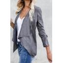 Womens Elegant Plain Waterfall Long Sleeve Open Front Short Suede Cardigan Coat