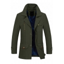 Mens Simple Plain Long Sleeve Single Breasted Flap Pocket Slim Fit Cotton Casual Jacket Trench Coat