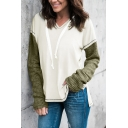 Womens Exclusive Two Tone V-Neck Long Sleeve Side Split False Two Piece Panel Oversized Pullover Hoodie