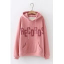 New Fashionable RECDRDS Letter Printed Long Sleeve Drawstring Hoodie with Pocket