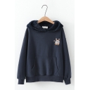 Preppy Fashion Cute Cartoon Girl Printed Long Sleeve Pouch Pocket Loose Fit Rabbit Ears Thick Hoodie