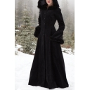 Ladies Fashionable Plain Long Sleeve Lace Up Back Single Breasted Floor Length Fur Trimmed Hooded Overcoat