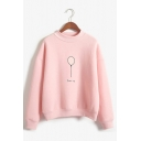 Womens Stylish Balloon Printed Long Sleeve Mock Neck Loose Pullover Sweatshirt