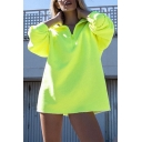 Womens Stylish Plain Fluorescent Yellow Half Zip Long Sleeve Oversized Pullover Sweatshirt