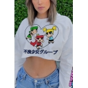 Lovely Cartoon Character Letter Printed Long Sleeve Loose Fit White Pullover Cropped Sweatshirt