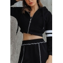 Womens Leisure Double Stripes Long Sleeve Black Zipper Slim Pullover Hoodie