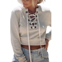 Street Style White Plain Lace-Up Front V-Neck Long Sleeve Cropped Pullover Sweatshirt
