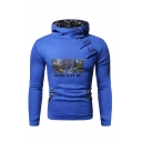 Camo Letter WIN Printed Oblique Zipper Snap Button Embellished Fitted Pullover Hoodie with Pocket