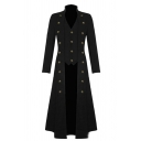 Mens Steampunk Solid Color Button Embellished Victorian Gothic Retro Tuxedo Long Coat