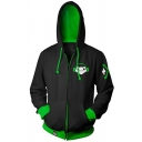 Mens Fashion Black and Green Popular Game Logo 3D Printed Cosplay Costume Zipper Drawstring Hoodie