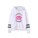 Cool Skull Letter PRETTY POISONS Printed Striped Long Sleeve Drawstring Hoodie