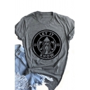 Christmas Series LET IT SNOW Logo Pattern Roll Up Sleeve Loose Fit Casual T-Shirt