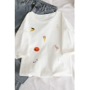 Cute Cartoon Pattern Embroidery Short Sleeve Round Neck Loose Relaxed Tee Top