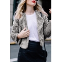 Womens Elegant Plain Long Sleeve Open Front Rabbit Fur Short Jacket Coat