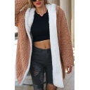 Womens Fashionable Color Blocked Open Font Reversible Longline Hooded Faux Shearling Coat