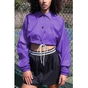 Purple Lapel Collar Color Block Striped Long Sleeve Single Breasted Drawstring Crop Casual Jacket Coat