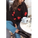 Womens Stylish Red Heart Printed Long Sleeve Turtleneck Loose Black Pullover Sweater