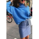 Winter Warm Royal Blue Plain Turtle Neck Long  Sleeve Loose Fit Cable Knit Chunky Sweater