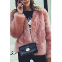 Women's Stylish Open Front Long Sleeve Faux Fox Fur Solid Outerwear Coat