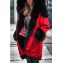 Womens Stylish Winter Warm Faux Fur Red Coat Long Outdoor Parka Coat with Hood