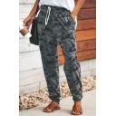 Dark Gray Camouflage Pattern Drawstring Waist Leisure Pants
