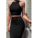 Womens Sexy Plain Halter Neck Sleeveless Tank Midi Tight Skirt Two-Piece Bodycon Dress Suit