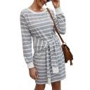 Womens Designer Striped Tie Waist Round Neck Loose Midi Casual T-Shirt Dress