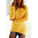 Womens Basic Solid Color Long Sleeve Round Neck High Low Longline Fitted Plush Pullover Sweater Top