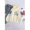 Womens Cute I'M A CAT Letter Printed Stripe Long Sleeve Baggy Drawstring Graphic Hoodie
