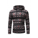 Ethnic Style Deer Print Long Sleeve Slim Fit Drawstring Hoodie with Kangaroo Pocket