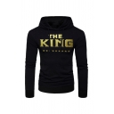 Mens Leisure Stars Letter THE KING Printed Long Sleeve Slim Fit Drawstring Hoodie with Pocket